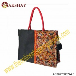 Akshay Kalamkari Jute Bag with Zipper-744VC